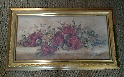"""Barbara Mock """"Roses to Remember""""  Framed Picture 38""""Wide x 22"""" Long"""