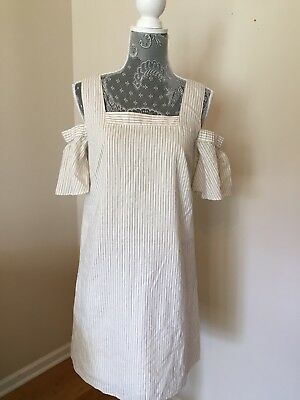 7ae49768168 Madewell JCREW striped cold-shoulder dress 2 4 bleached linen  138 G3195  SOLDOUT
