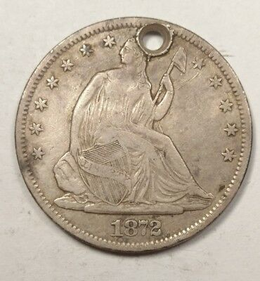 1872-S Seated Liberty Half Dollar XF Details (Holed)