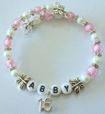 GIRL'S 16th BIRTHDAY PERSONALISED BRACELET ALL SIZES COLOURS & NAMES