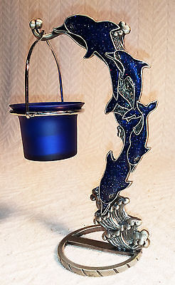 4 DOLPHIONS BLUE IRRIDESCENT/SPARKLING Metal w/ Hang'n BLUE Glass Candel Holder