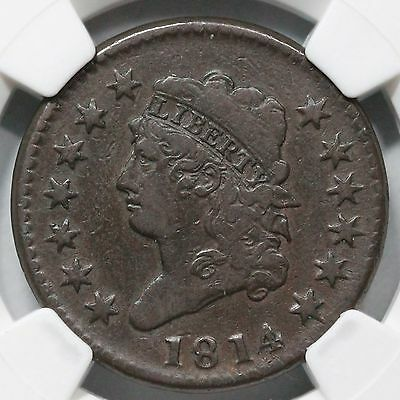 1814 S-294 NGC VF 20 Crosslet 4 Classic Head Large Cent Coin 1c