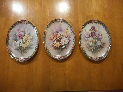 Lot of 3 Lena Liu's Floral Cameos Oval Plates EXQUISITE MAGICAL and CHERISHED