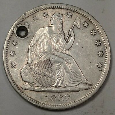 1867-S Seated Liberty Half Dollar AU Details (Holed)