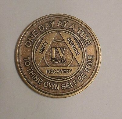 New aa bronze alcoholics anonymous 4 year sobriety chip coin token medallion