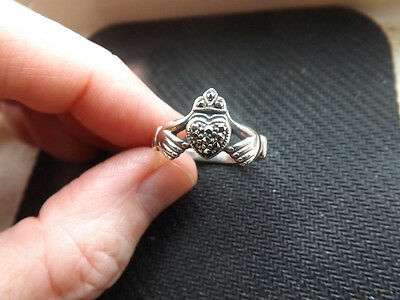 Irish CLADDAGH & Marcasite Sterling Silver Ring Size 10 Ireland Celtic