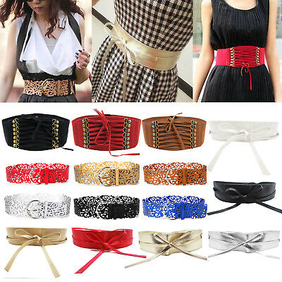 Women Fashion Wide Stretch Elastic Waist Belt Elastic Buckle Waistband For Dress