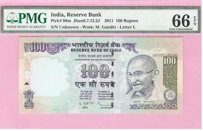 Republic India 100 Rs Pick #98m(2011) Without Number Error PMG Graded 66 EPQ Gem