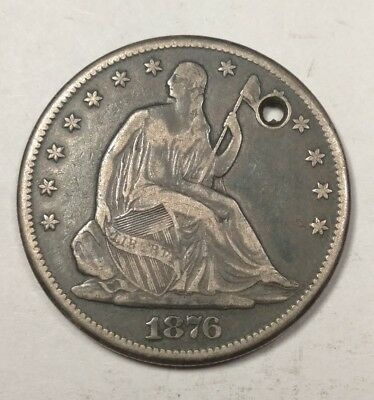 1877-CC Carson City Seated Liberty Half Dollar VF Details (Holed)