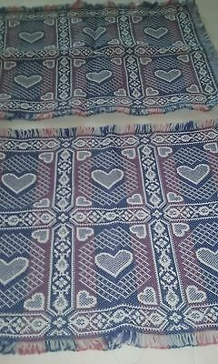 cloth place mats pattern hearts lot of 2 multi-color