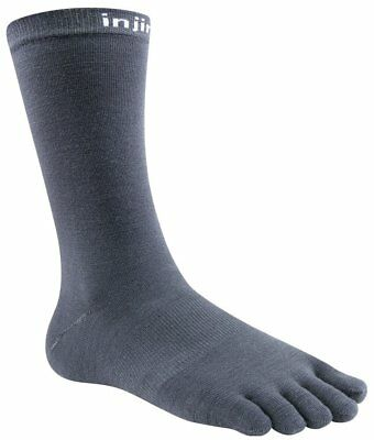 Injinji Liner Crew NuWool Merino Wool Hiking Running Toe Socks, Charcoal, Small