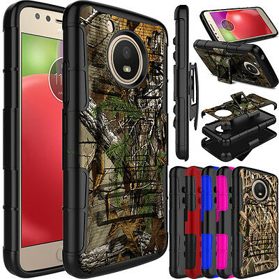 For Motorola Moto E4/E4 Plus Hybrid Holster Belt Clip Kickstand Armor Case Cover