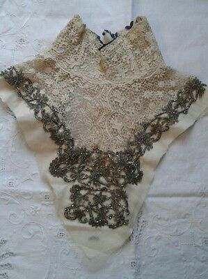 antique textile hand beaded applique and lace detail neck piece