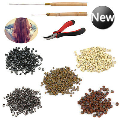 Hair Extensions Pliers Hook Tool Kit For Micro Rings Loop +500pcs Silicone Beads