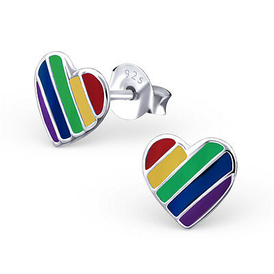 925 Sterling Silver Rainbow Heart Loveheart Kids Girls Stud Earrings  Party Gift