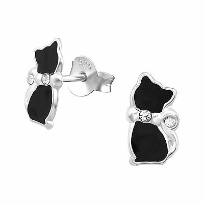 925 Sterling Silver Black Cat With Crystals Kids Girls Women Stud Earring