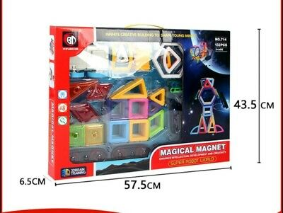 New magnetic building block. Magna tiles 132 pieces kids Birthday & Xmas gift