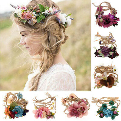 Women Wedding Party Boho Flower Wreath Crown Headband Floral Garlands Hair band