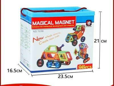Magical magnet Magnetic building block.Magna tiles 98pieces Birthday&Xmas gift.