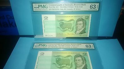 commonwealth of Australia x2 consecutive 1966 $2 dollars notes graded PMG63 UNC