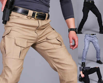 Mens Tactical Pants Military Army Cargo Security Combat Hiking Hunting Trousers