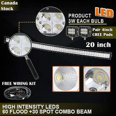 "20inch LED Light Bar Curved + 4"" CREE LED PODs Off Road Truck Boat Ford Jeep SUV"
