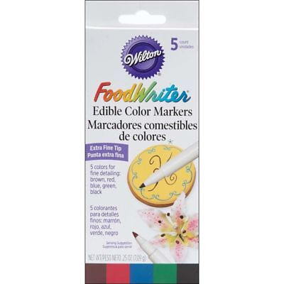 Wilton Food Writer Extra Fine Tip Edible Color Marker Decorating Set, 5-Piece