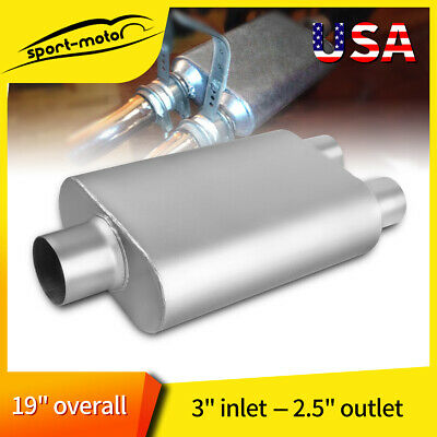 """C/O 3"""" In 2.5"""" Dual Outlet Performance Chambered Race Muffler 13"""" Oval Body Long"""