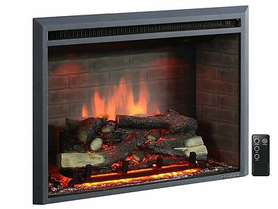Groovy 30 Inch Western Electric Fireplace Insert With Remote Control 750 1500W Black Interior Design Ideas Inesswwsoteloinfo