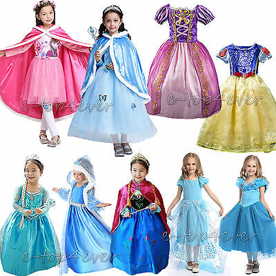 Girls Fancy Dress Up for Frozen Snow White Rapunzel Cinderella Costume Outfit++
