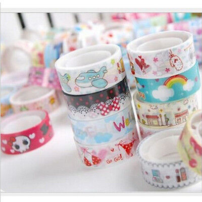 10 PCS Decor Washi Rainbow Sticky Tape Masking Adhesive Note Paper Scrapbook DIY