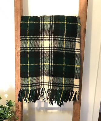 Vintage Green, Cream & Yellow check Travel Rug/Blanket 100 Wool 180cm x 200cm
