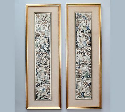 19th Century Pair of Framed Chinese Embroidered Silk Sleeve Bands