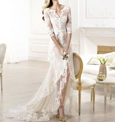 New White Ivory Lace long Sleeves Beach Wedding  Bridal Formal Dress Gown