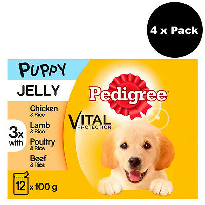 Pedigree Puppy Pouches Meat Selection in Jelly 48 x 100g Dog Food Puppy Food