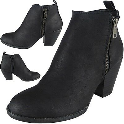 Sale New Womens Ladies Zip Mid Heel Ankle Casual Work Chelsea Boots Shoes Size