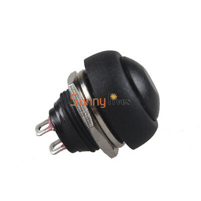 2Pcs Black 12mm Waterproof Momentary ON/OFF Push Button Mini Round Switch