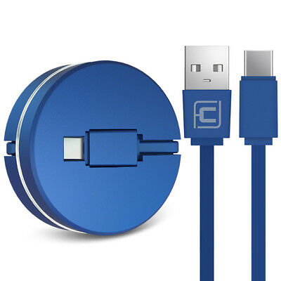 1M Retractable 20AWG Type-C Fast USB Data Sync Charger Cable Lead for Samsung S8