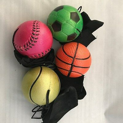 4 x METALLIC SPONGE RUBBER BALL with String Solid High Bounce Ball New HOT