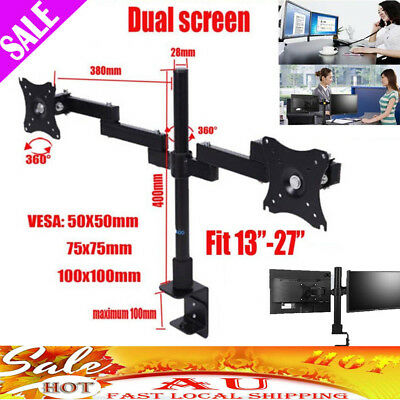 Rotating HD LED Desk Mount Monitor Stand Bracket 2 Arm Holds Two LCD Screen TV
