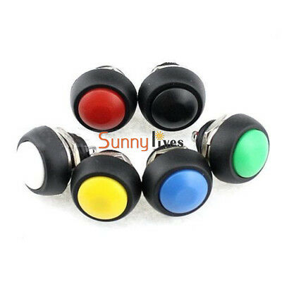 2/5Pcs 6 Colors 12mm Mini Round Switch Waterproof Momentary ON/OFF Push Button