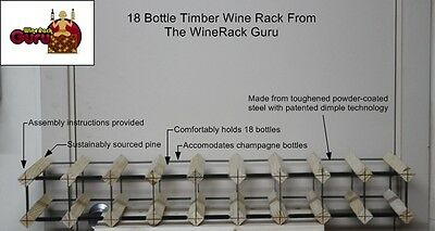 18 Bottle Timber Wine Rack -Genuine BORDERS Product - 100% Australian