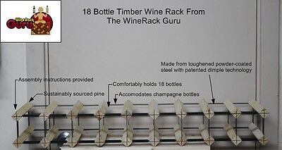 18 OR 10 Bottle Timber Wine Rack -Genuine BORDERS Product - 100% Australian