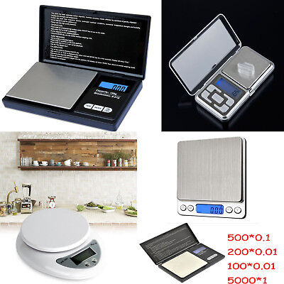 5000g X 1g 0.01g Digital Pocket Scale Jewelry Weight Electronic Balance Gram KF