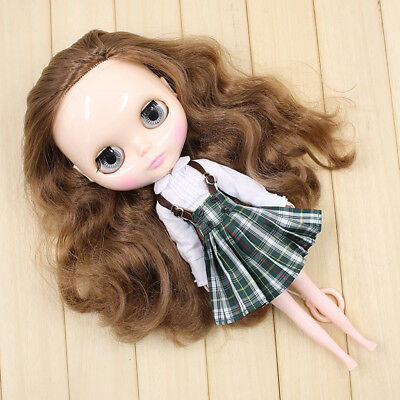 Trendy White Shirt & Suspender Plaid Dress for 12'' Neo Blythe Dolls Clothes