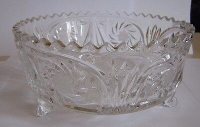 Vintage Emerald White Cut To Clear Crystal Glass # Decorative Bowl