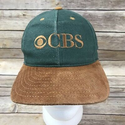 Vintage CBS Channel News Sports Two Tone Snap Back Hat Cap 80's