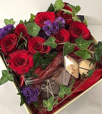 Roses In The Box - CHOCOLATE FLOWER BOUQUET All Occasion Flowers FRESH ROSE