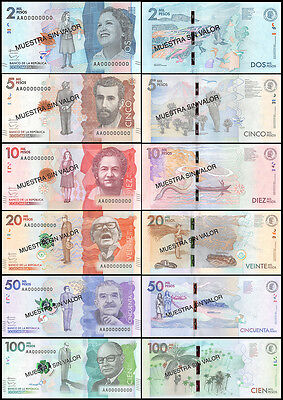 Colombia 2-100 Mil Pesos 6 PCS Full Specimen Set, 2014-15, P-NEW, UNC, In Folder