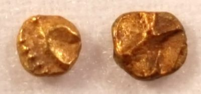 World's Smallest Gold Coins: 2 Indian Quarter Fanams